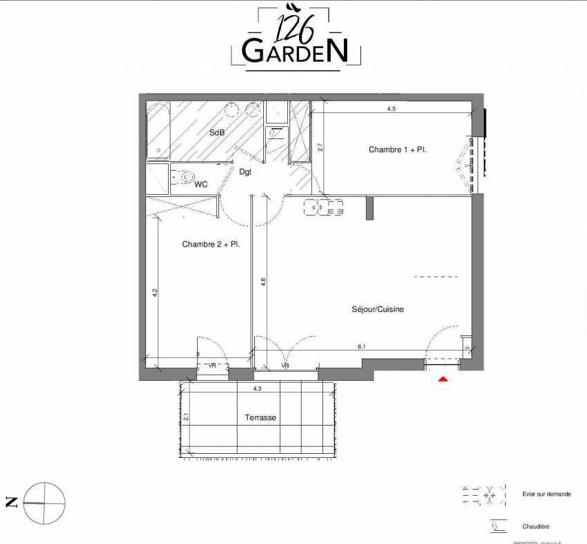 Plan B02, appartement neuf type T3 au Rez de chaussée, faisant 65m² du programme neuf 126 GARDEN à Toulouse.