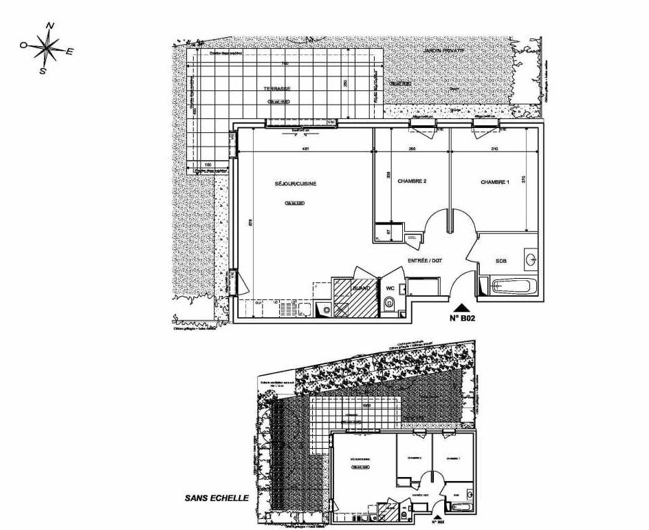 Plan B02, appartement neuf type T3 au Rez de chaussée, orienté Nord faisant 66m² du programme neuf INFINITY à Publier.