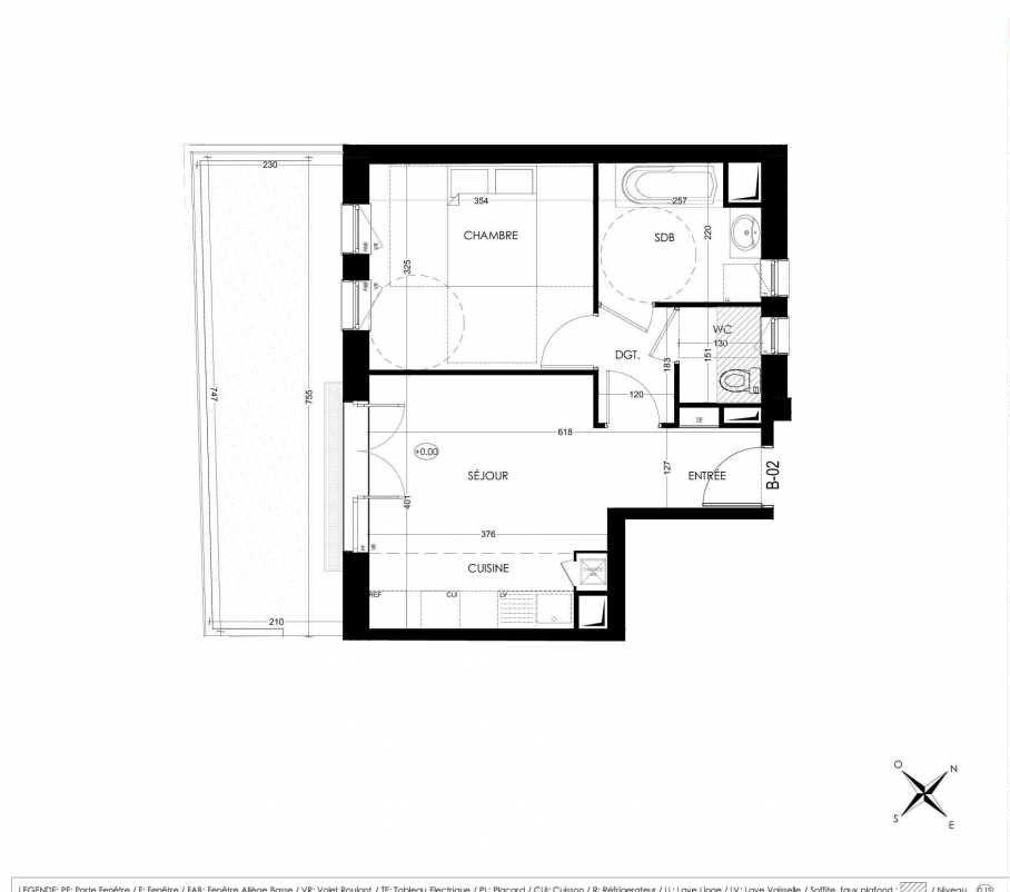 Plan B02, appartement neuf, orienté Sud faisant 38m² du programme neuf La Closeraie à Villeneuve-d'Ascq.