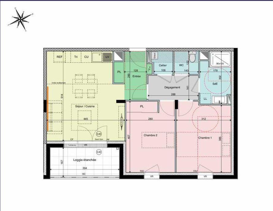 Plan B02, appartement neuf type T3 au Rez de chaussée, orienté Sud faisant 62m² du programme neuf Les Hauts de Brimberne à Sautron.