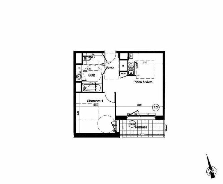 Plan B02, appartement neuf, orienté Sud faisant 41m² du programme neuf Les Rives du Parc à Fleury-sur-Orne.