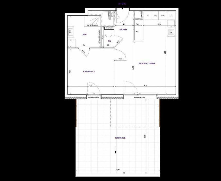 Plan B02, appartement neuf type T2 au Rez de chaussée, orienté Sud faisant 44m² du programme neuf Les Terrasses d'Orgeoise à Coublevie.