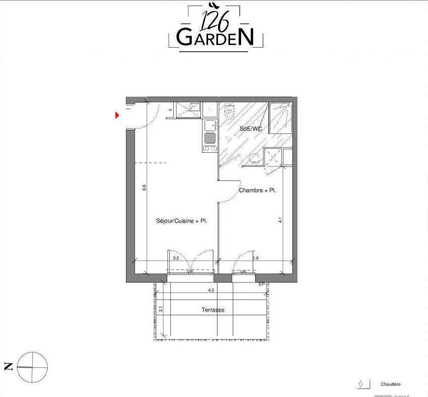 Plan B03, appartement neuf type T2 au Rez de chaussée, faisant 39m² du programme neuf 126 GARDEN à Toulouse.