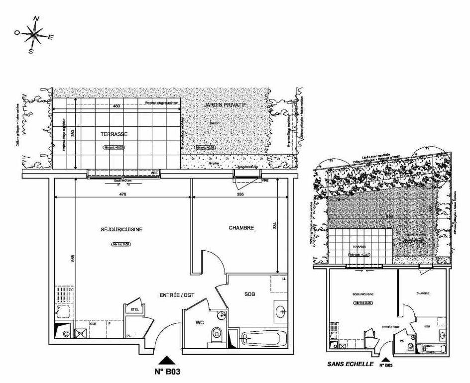 Plan B03, appartement neuf type T2 au Rez de chaussée, orienté Nord faisant 46m² du programme neuf INFINITY à Publier.