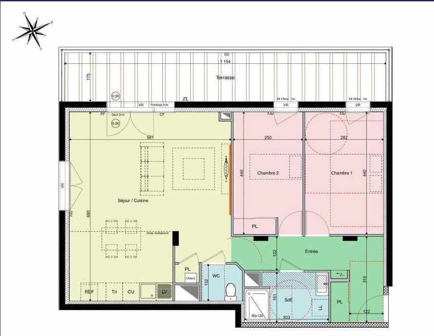 Plan B03, appartement neuf type T3 au Rez de chaussée, orienté Sud faisant 65m² du programme neuf Les Hauts de Brimberne à Sautron.