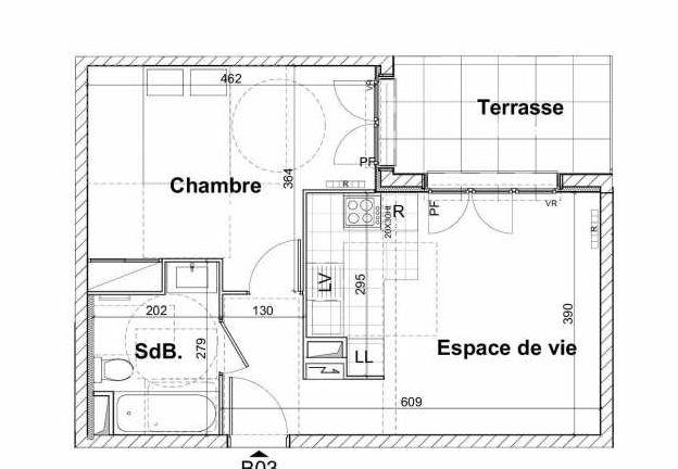 Plan recadré du lot neuf du programme neuf Les Jardins du Lavoir