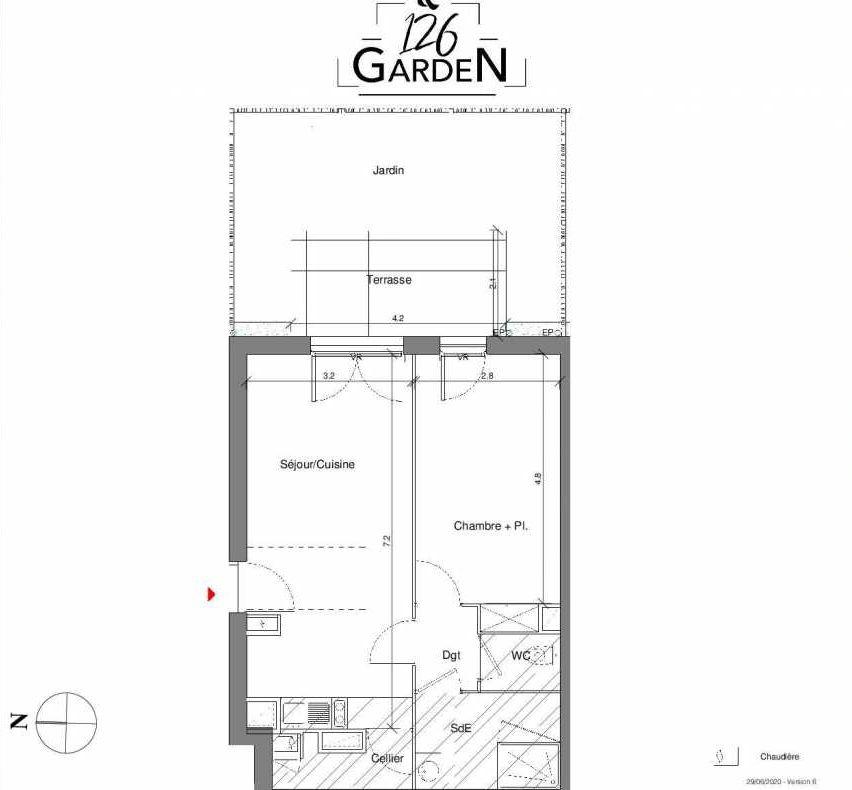 Plan B04, appartement neuf type T2 au Rez de chaussée, faisant 48m² du programme neuf 126 GARDEN à Toulouse.
