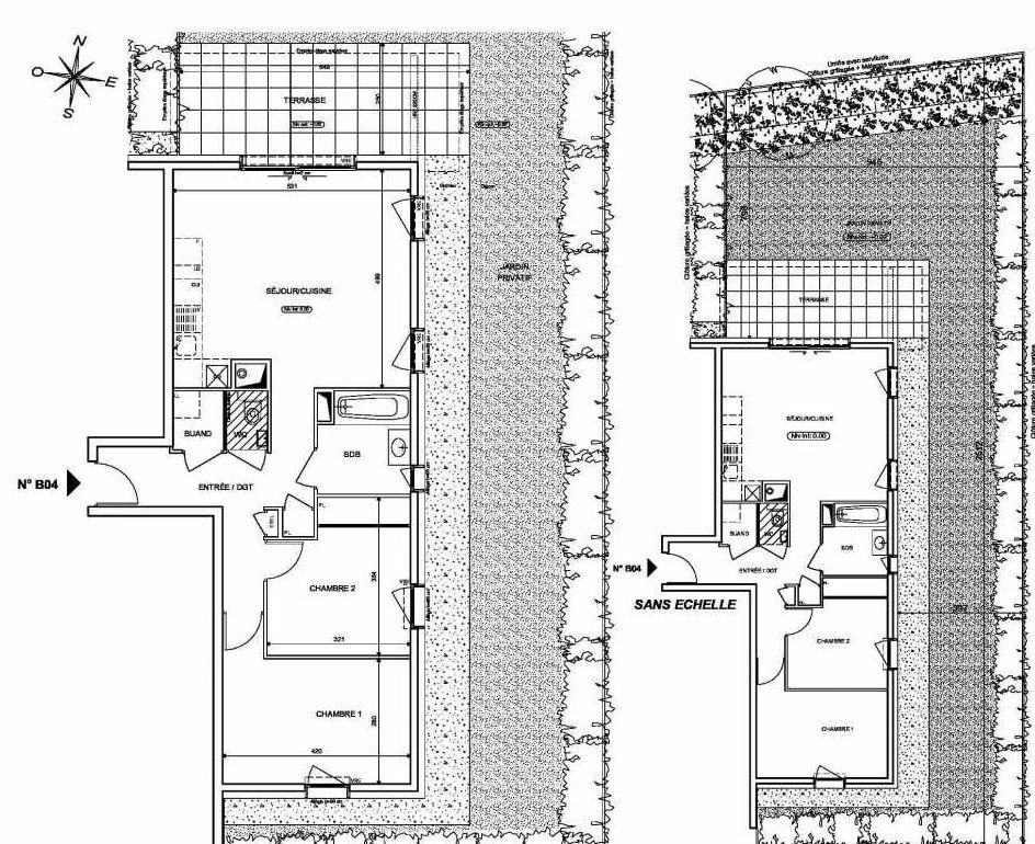 Plan B04, appartement neuf type T3 au Rez de chaussée, orienté Nord faisant 66m² du programme neuf INFINITY à Publier.
