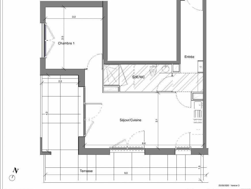 Plan B04, appartement neuf type T2 au Rez de chaussée, faisant 46m² du programme neuf Kubik Garden à Vénissieux.