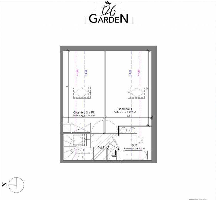 Plan B05, appartement neuf type T3 au 1er étage, faisant 67m² du programme neuf 126 GARDEN à Toulouse.