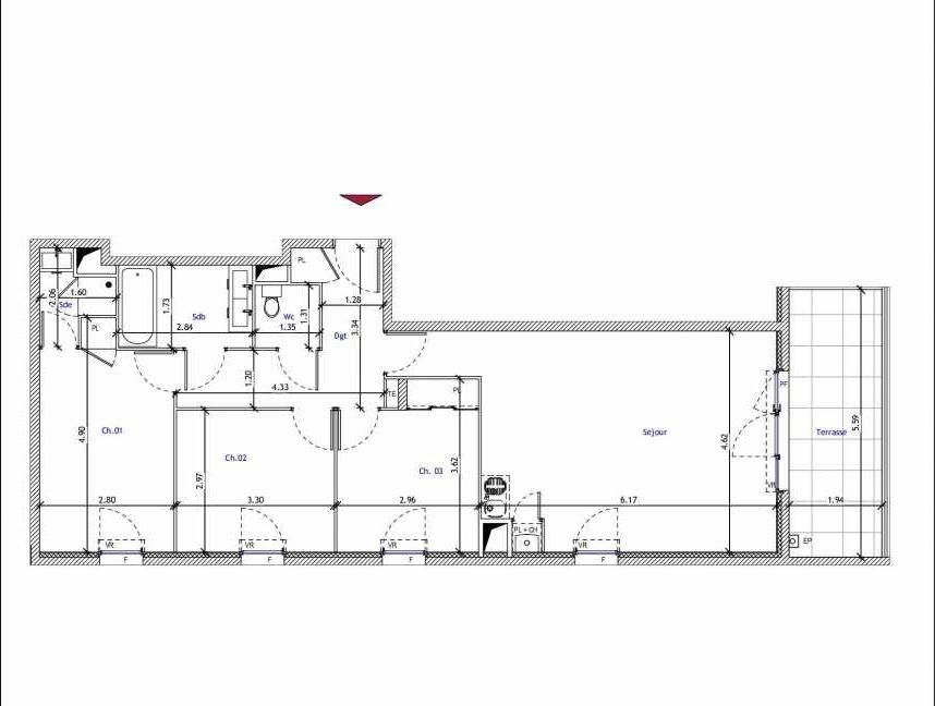 Plan B05, appartement neuf type T4 au 1er étage, faisant 79m² du programme neuf Pavillon 9 à Marseille.