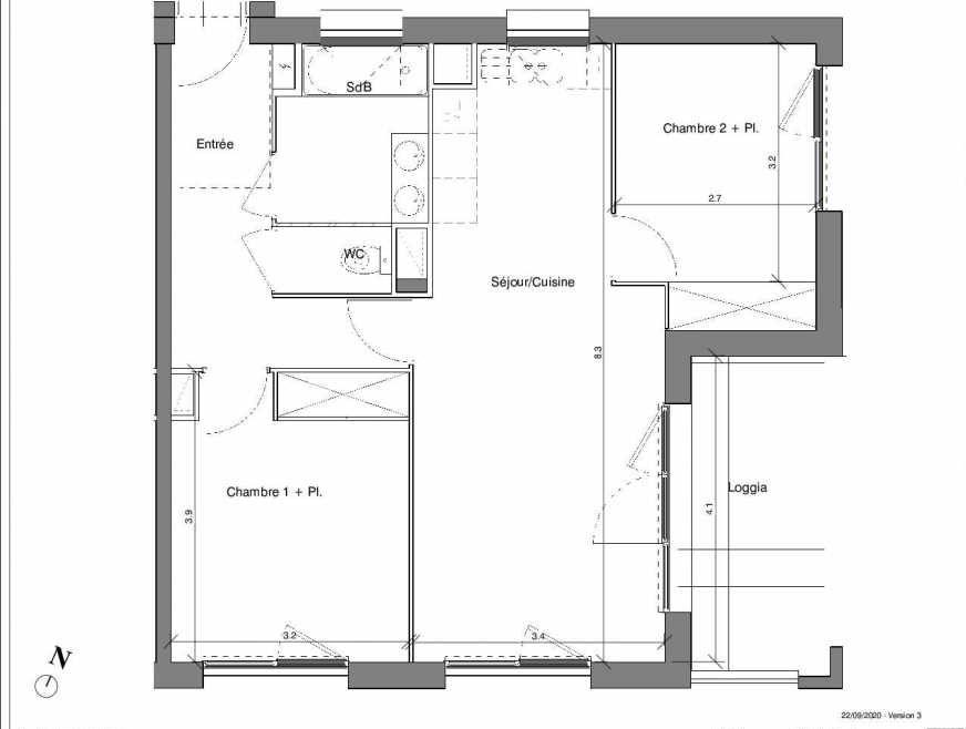 Plan B07, appartement neuf type T3 au 2ème étage, faisant 61m² du programme neuf Kubik Garden à Vénissieux.