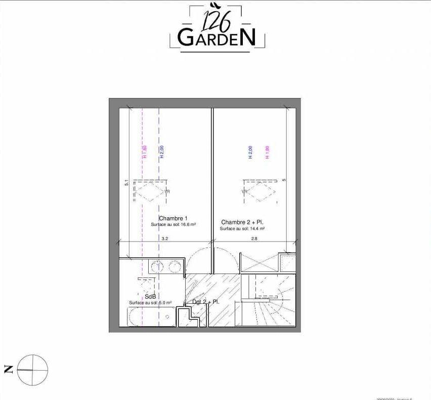 Plan B08, appartement neuf type T3 au 1er étage, faisant 66m² du programme neuf 126 GARDEN à Toulouse.