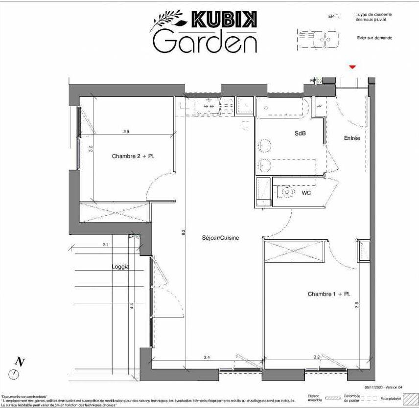 Plan B08, appartement neuf type T3 au 2ème étage, faisant 62m² du programme neuf Kubik Garden à Vénissieux.