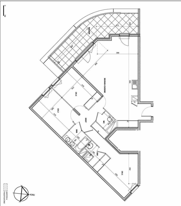 Plan B08, appartement neuf type T4 au 1er étage, faisant 92m² du programme neuf Le Vallon des Caillols à Marseille.