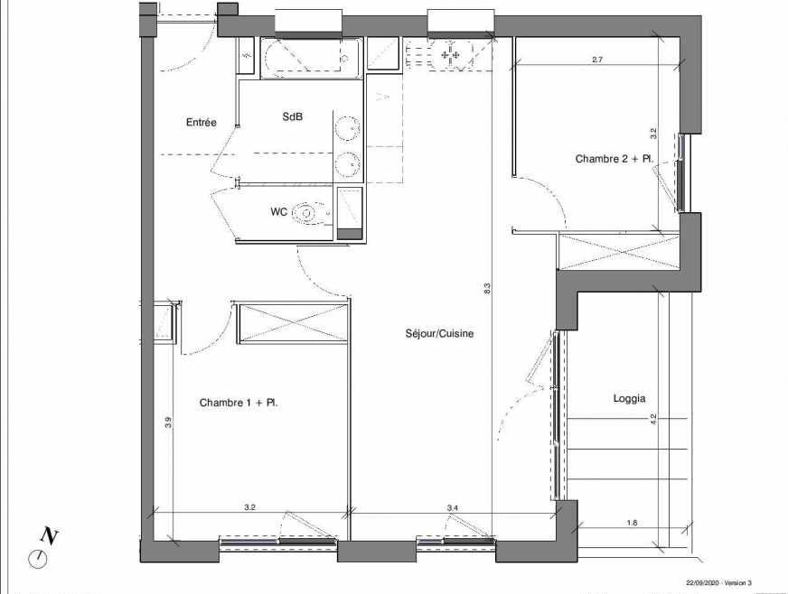 Plan B09, appartement neuf type T3 au 3ème étage, faisant 61m² du programme neuf Kubik Garden à Vénissieux.