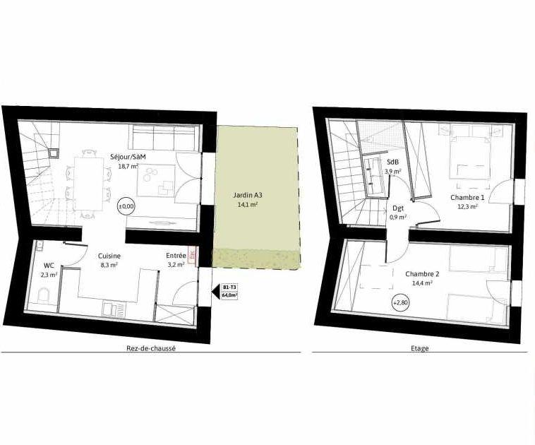 Plan B1, appartement neuf, faisant 64m² du programme neuf LE VIEUX TILLEUL à La Tour-de-Salvagny.