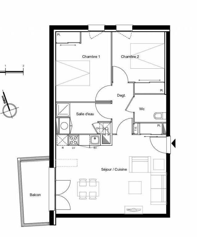 Plan B1.04, appartement neuf type T3 au 1er étage, faisant 61m² du programme neuf Résidence L'Azuria à Toulouse.