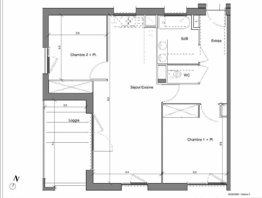 Plan B10, appartement neuf type T3 au 3ème étage, faisant 62m² du programme neuf Kubik Garden à Vénissieux.