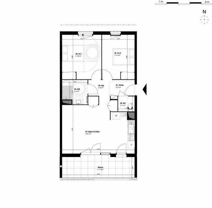 Plan B101, appartement neuf type T3 au 1er étage, orienté Sud faisant 63m² du programme neuf 1804 LIBERTÉ à Montpellier.