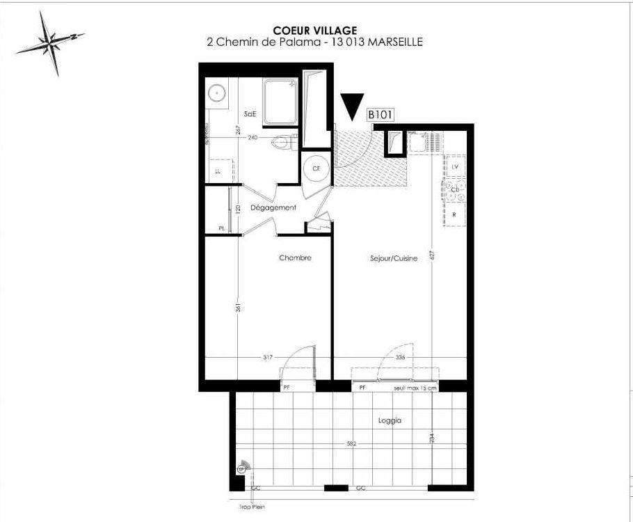 Plan B101, appartement neuf type T2 au 1er étage, orienté Est faisant 43m² du programme neuf Coeur Village à Marseille.