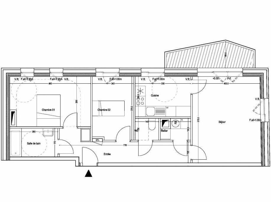 Plan B101, appartement neuf type T3 au 1er étage, orienté Sud faisant 71m² du programme neuf COLYSEE à Lys-lez-Lannoy.