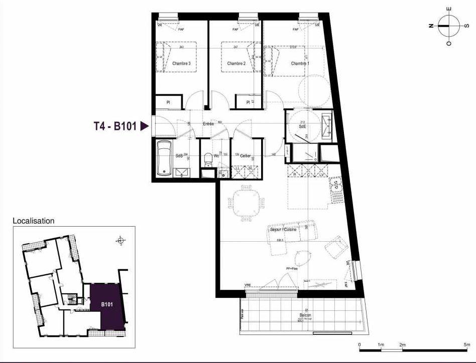 Plan B101, appartement neuf type T4 au 1er étage, orienté Ouest faisant 87m² du programme neuf LA TRAVERSEE à Saint-Nazaire.
