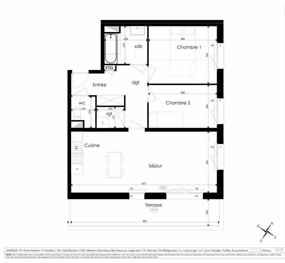 Plan B101, appartement neuf type T3 au 1er étage, faisant 67m² du programme neuf Les Jardins d'Arc à Amiens.