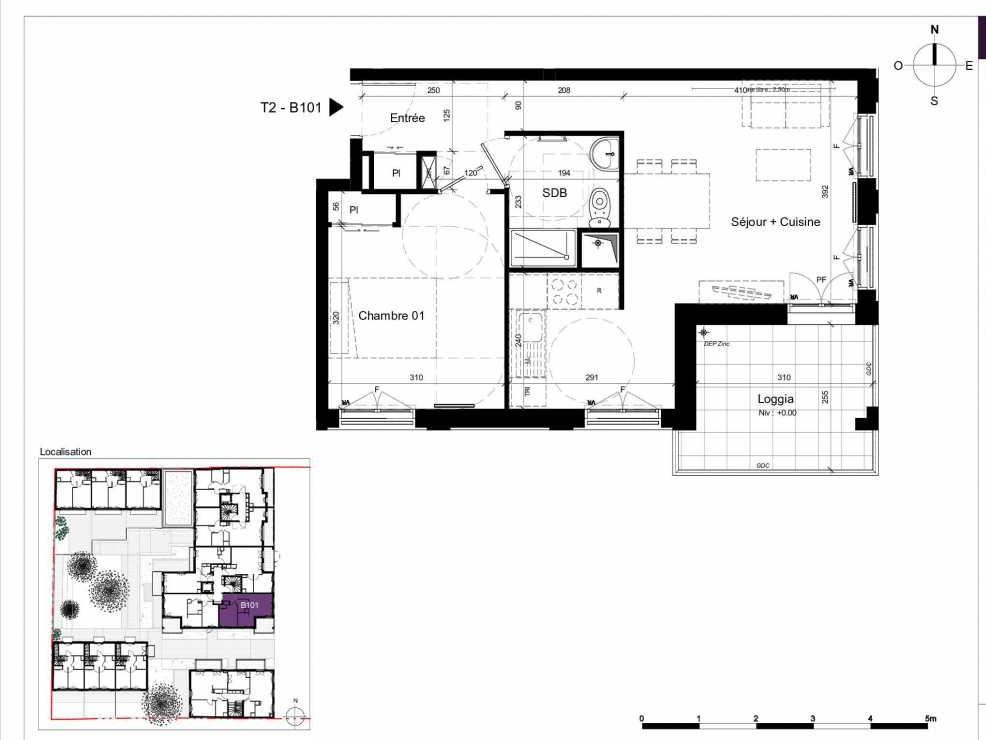 Plan B101, appartement neuf type T2 au 1er étage, orienté Est faisant 45m² du programme neuf SESAME à Rennes.