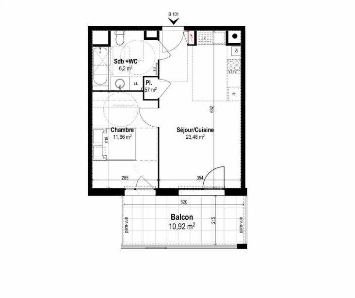 Plan B101, appartement neuf type T2 au 1er étage, orienté Sud faisant 42m² du programme neuf SUNLODGE à Brignais.
