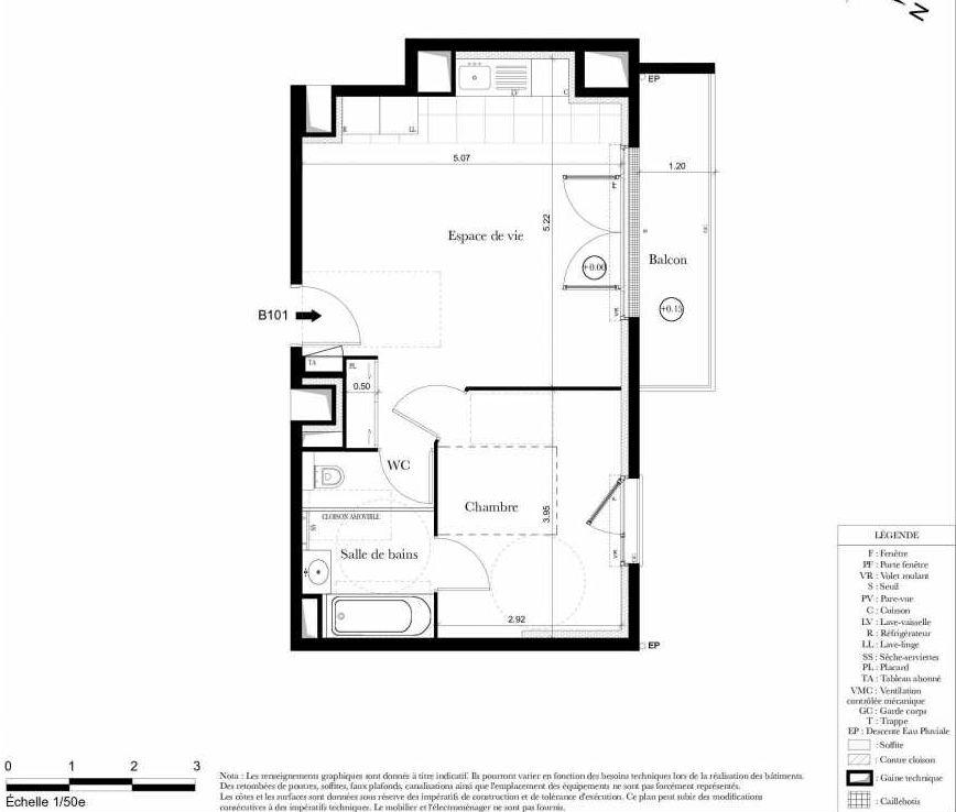 Plan B101, appartement neuf type T2 au 1er étage, orienté Nord faisant 42m² du programme neuf Symbiose à Bezons.