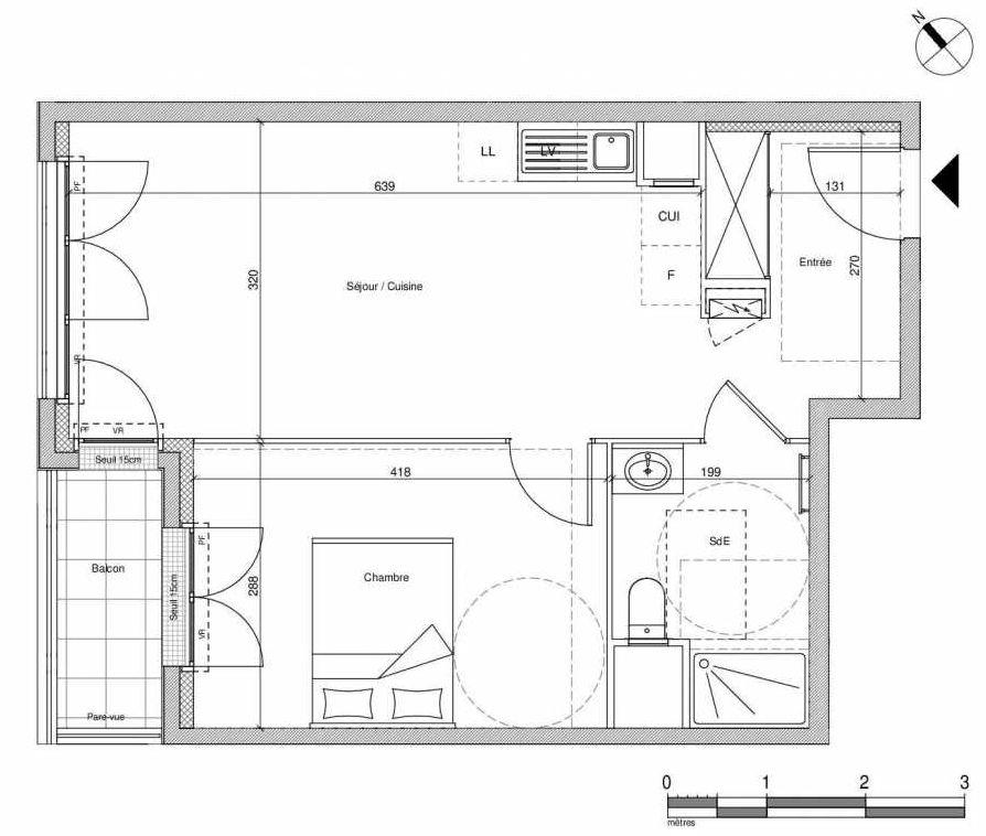 Plan B102, appartement neuf type T2 au Rez de chaussée, faisant 42m² du programme neuf 12 Liberty à Chennevières-sur-Marne.
