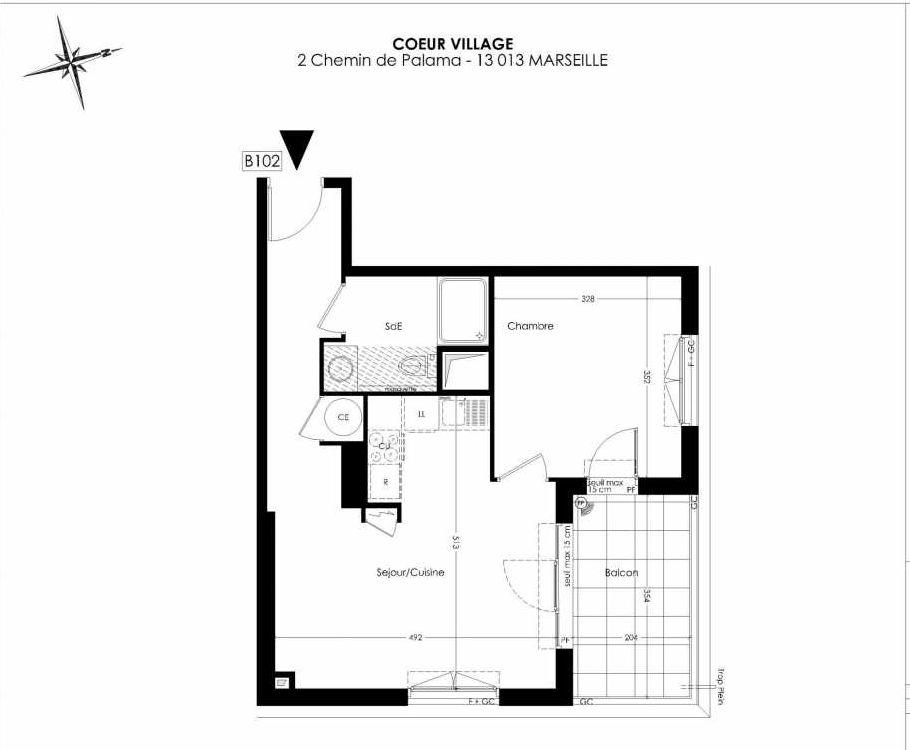 Plan B102, appartement neuf type T2 au 1er étage, orienté Est faisant 43m² du programme neuf Coeur Village à Marseille.