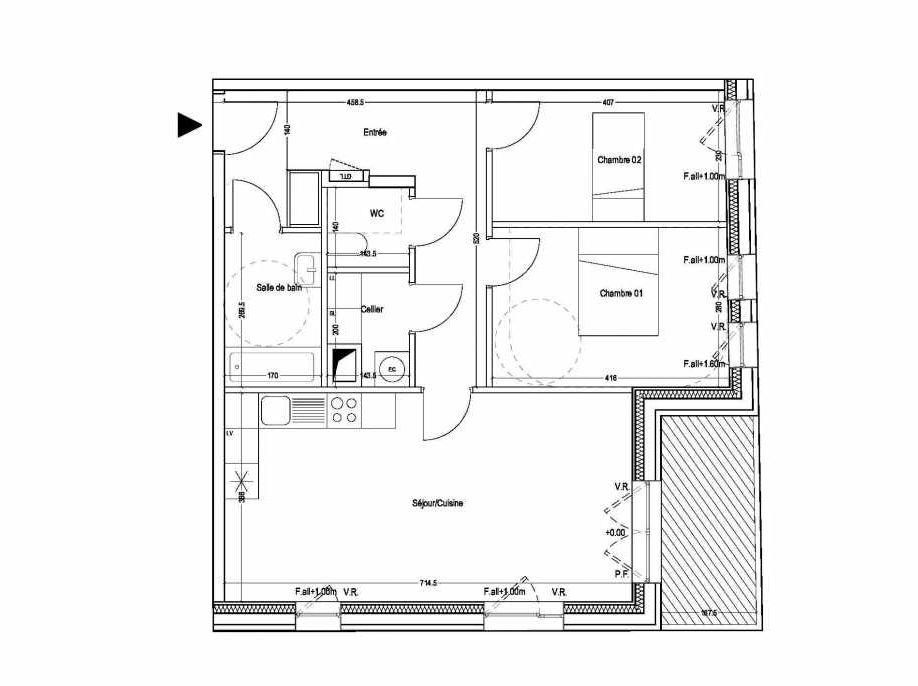 Plan B102, appartement neuf type T3 au 1er étage, orienté Sud faisant 69m² du programme neuf COLYSEE à Lys-lez-Lannoy.
