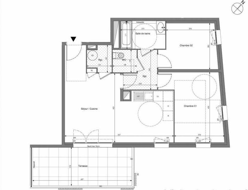 Plan B102, appartement neuf type T3 au 1er étage, orienté Sud faisant 62m² du programme neuf Impulsion à Marseille.