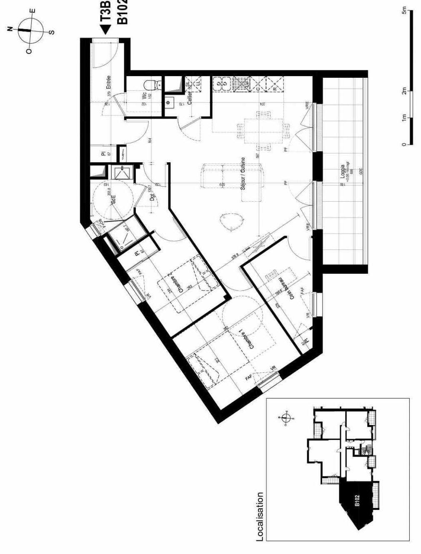 Plan B102, appartement neuf type T3 au 1er étage, orienté Sud faisant 80m² du programme neuf LE FORUM à La Rochelle.