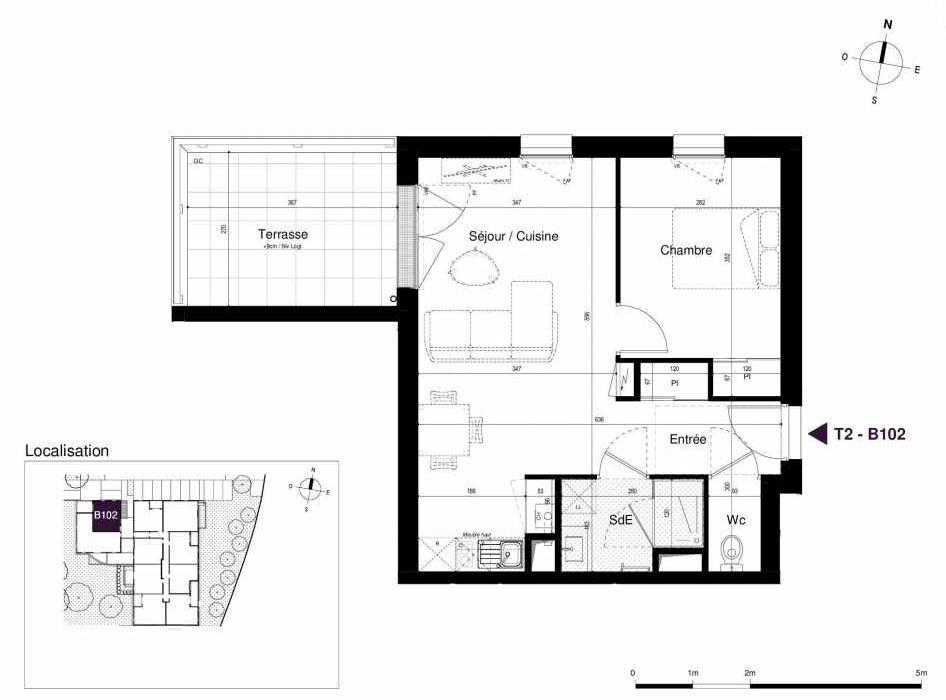Plan B102, appartement neuf type T2 au 1er étage, orienté Ouest faisant 44m² du programme neuf LES RIVES DE LUCE à Sainte-Luce-sur-Loire.