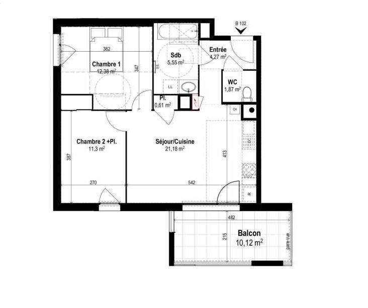 Plan B102, appartement neuf type T3 au 1er étage, orienté Sud faisant 57m² du programme neuf SUNLODGE à Brignais.