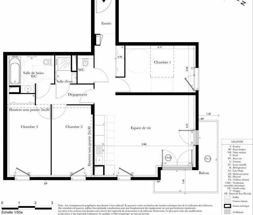 Plan B102, appartement neuf type T4 au 1er étage, orienté Est faisant 82m² du programme neuf Symbiose à Bezons.