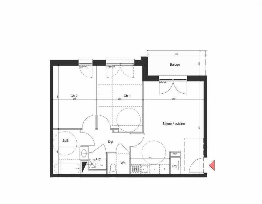 Plan B102, appartement neuf type T3 au 1er étage, orienté Nord faisant 58m² du programme neuf Villa Bihorel à Bihorel.