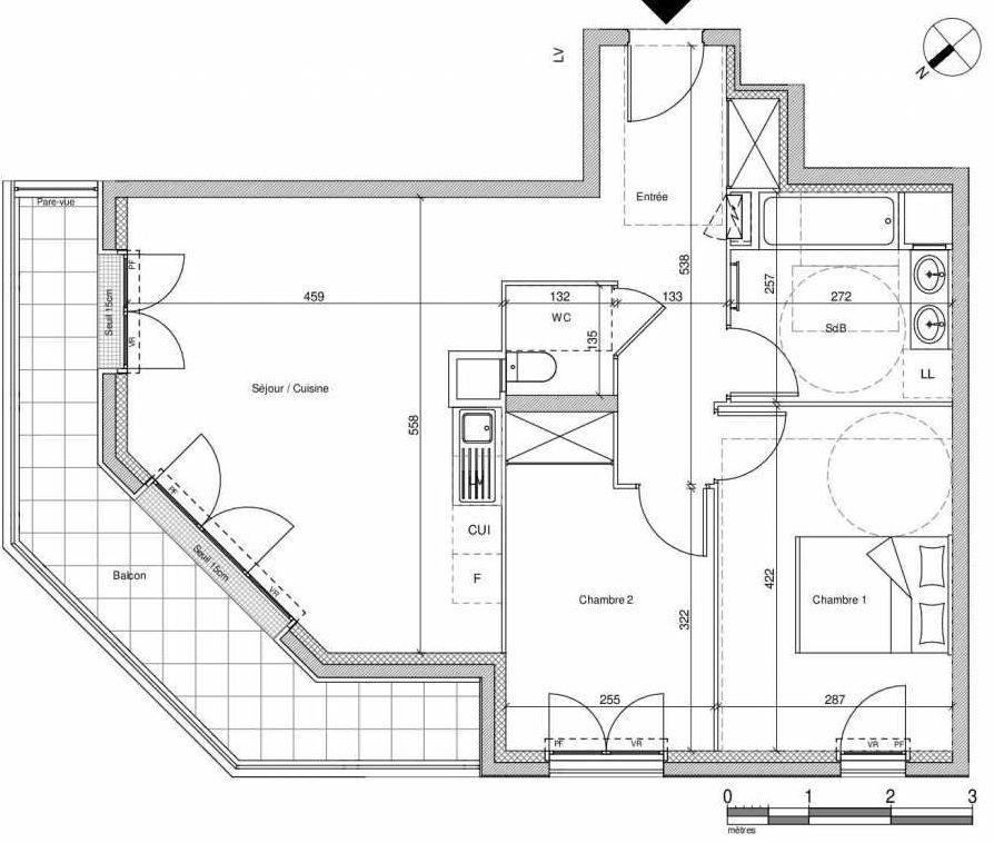 Plan B103, appartement neuf type T3 au Rez de chaussée, faisant 61m² du programme neuf 12 Liberty à Chennevières-sur-Marne.