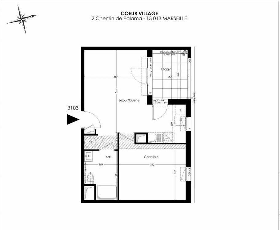 Plan B103, appartement neuf type T2 au 1er étage, orienté Est faisant 41m² du programme neuf Coeur Village à Marseille.