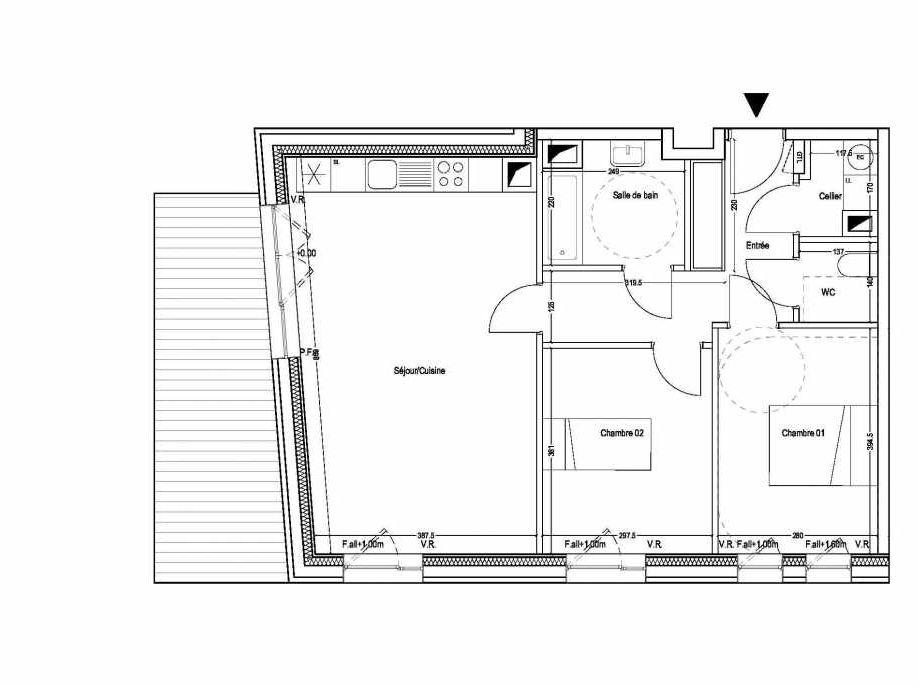 Plan B103, appartement neuf type T3 au 1er étage, orienté Ouest faisant 68m² du programme neuf COLYSEE à Lys-lez-Lannoy.