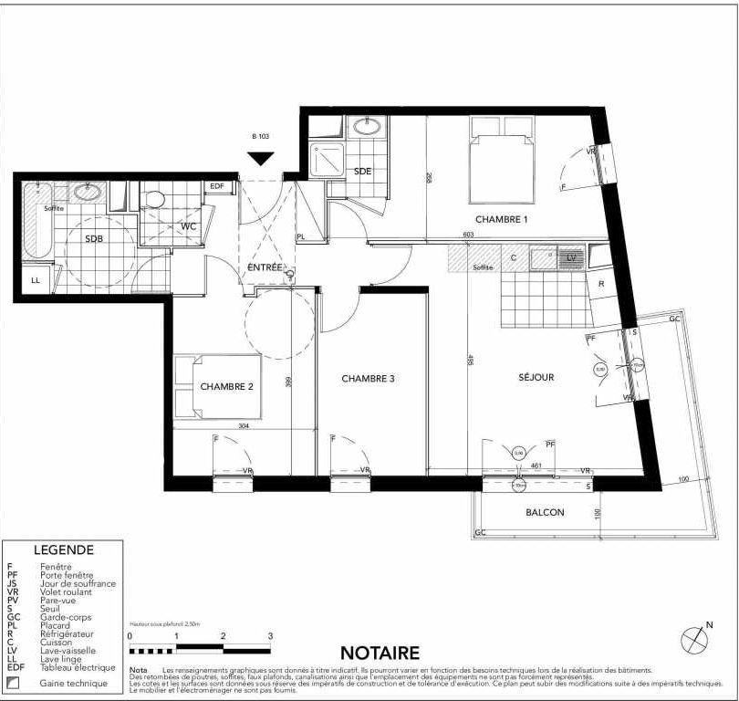 Plan B103, appartement neuf type T4 au 1er étage, orienté Sud faisant 73m² du programme neuf Gardenia à Argenteuil.