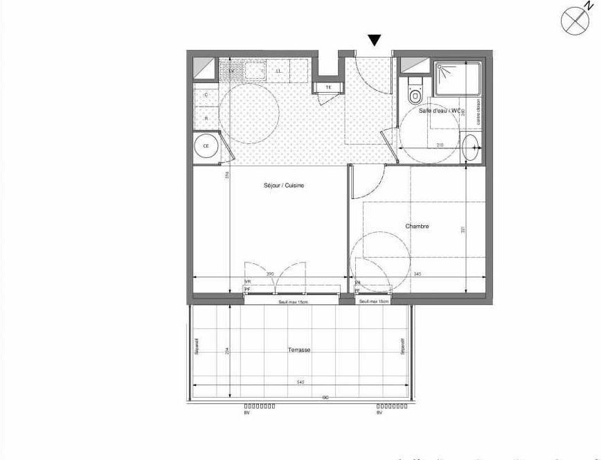 Plan B103, appartement neuf type T2 au 1er étage, orienté Sud faisant 41m² du programme neuf Impulsion à Marseille.