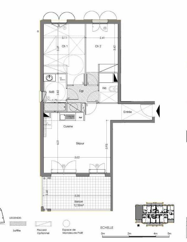 Plan B103, appartement neuf type T3 au 1er étage, orienté Sud faisant 61m² du programme neuf Loderi à Bormes-les-Mimosas.