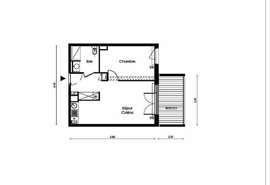 Plan B103, appartement neuf type T2 au Rez de chaussée, faisant 43m² du programme neuf TOSCANI SIENNE à Saint-Orens-de-Gameville.