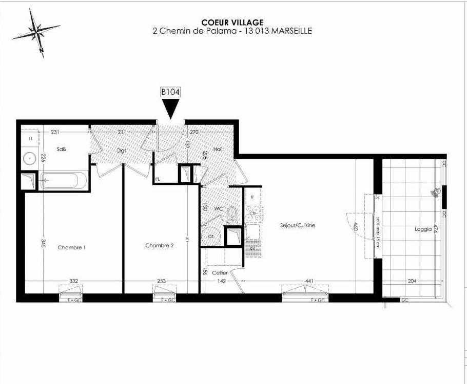 Plan B104, appartement neuf type T3 au 1er étage, orienté Ouest faisant 60m² du programme neuf Coeur Village à Marseille.