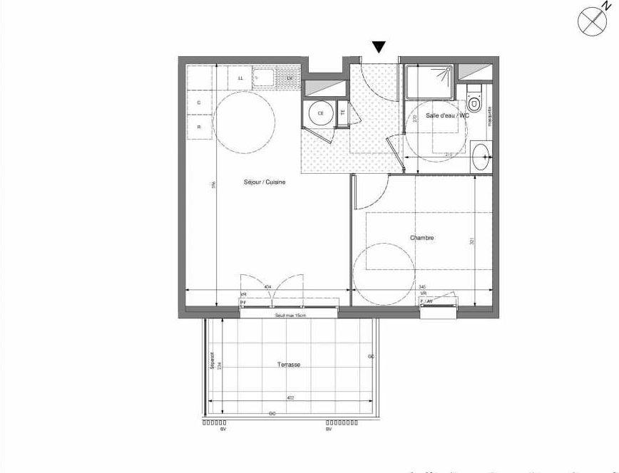 Plan B104, appartement neuf type T2 au 1er étage, orienté Sud faisant 43m² du programme neuf Impulsion à Marseille.