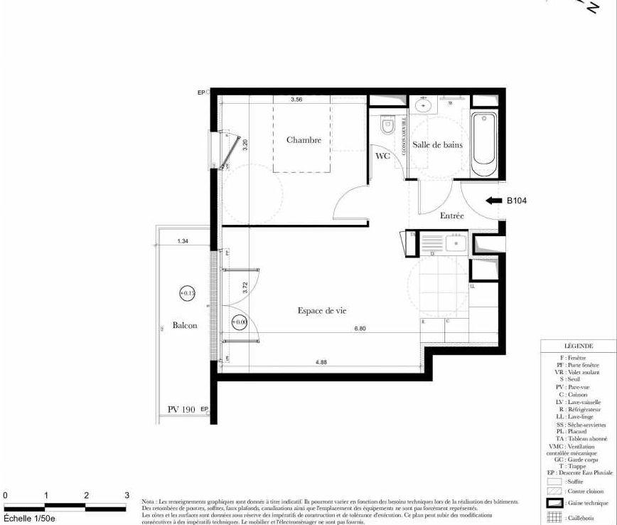 Plan B104, appartement neuf type T2 au 1er étage, orienté Sud faisant 43m² du programme neuf Symbiose à Bezons.
